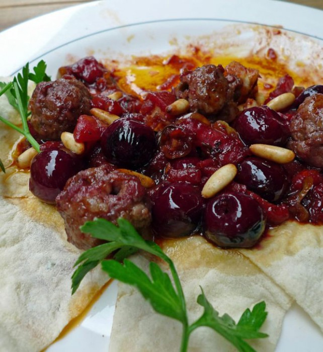 Visne Kebap –meatballs with fresh sour cherries in light tomato sauce.