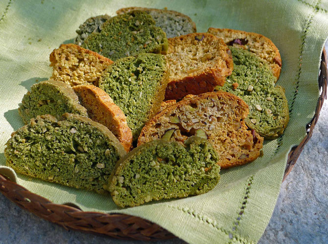 Green Savory Biscotti with Olive Oil, Yogurt and Nuts - Aglaia's Table ...