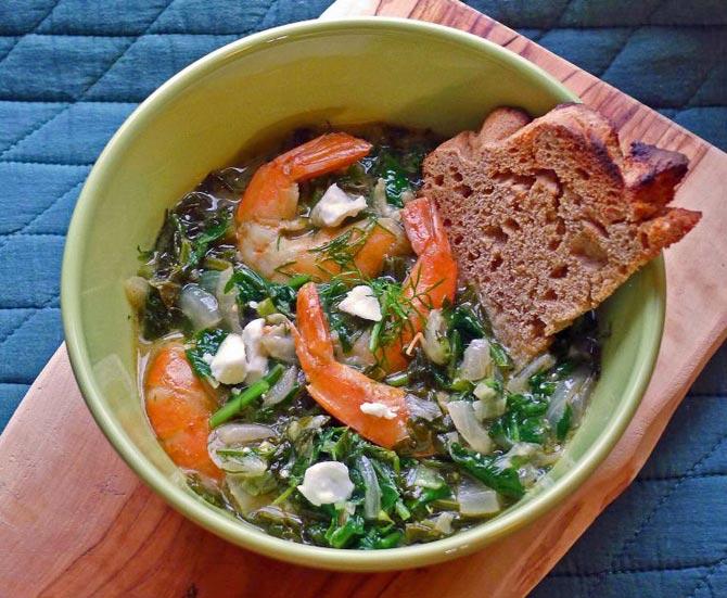 shrimp-greens-bread-a