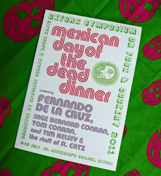 Jake Tilson designed the exquisite menus; here the one for the dinner inspired from the Mexican Day of the Dead.
