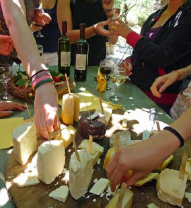 Sampling rare artisanal cheeses.