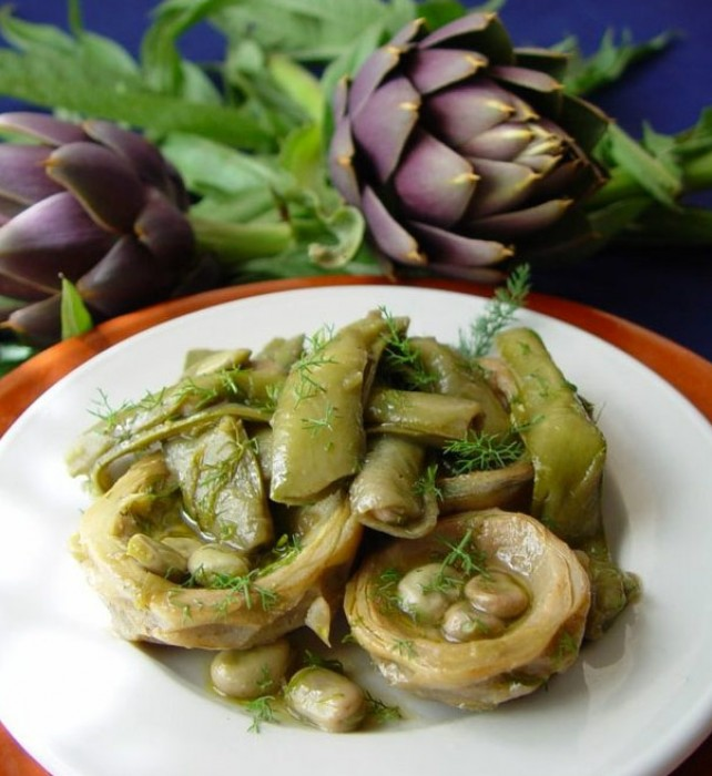 Artichokes Marinated in Wine, Olive Oil, Lemon and Garlic
