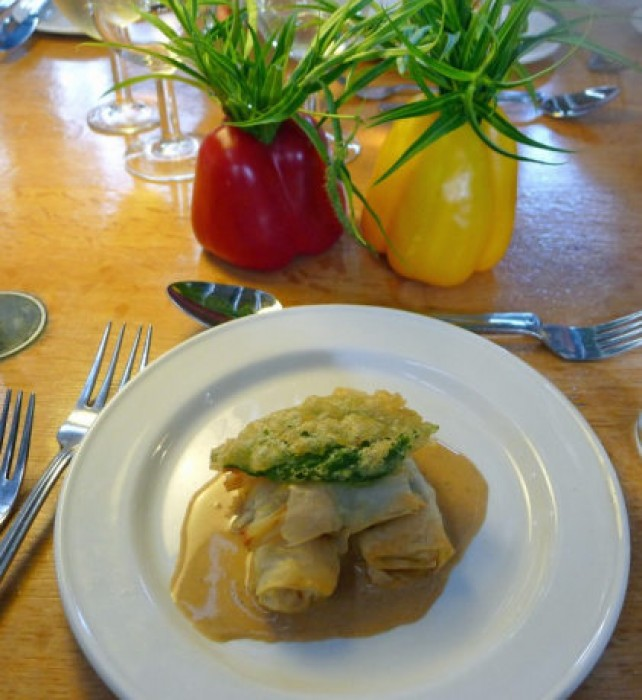 Friday Supper Langustines and Haddock in filo.