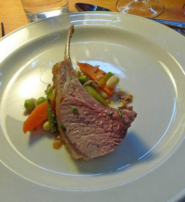 Roast rack of lamb with summer vegetables by Shaun Hill of Walnut Tree restaurant