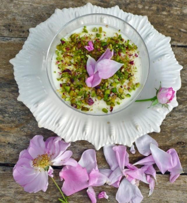 Rose-petal-yogurt-and-pistachio mousse.