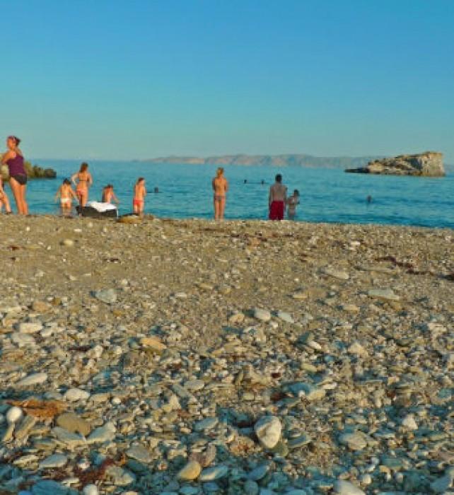 On the beach at Karthea.