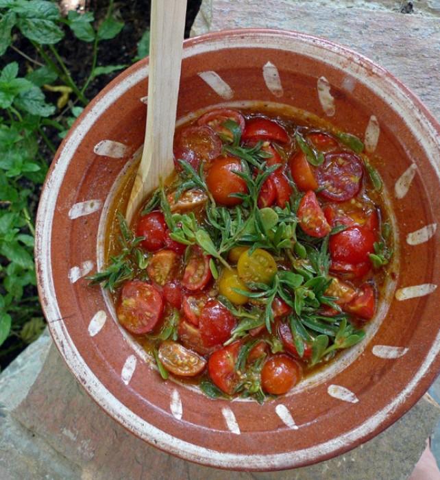 I use over-ripe cherry tomatoes of any shape to make my tomato and purslane relish.